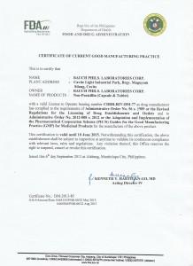 BAUCH GMP Certificate