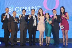 Ceremonial toast of Ms. Sunshine Cruz together with Bauch executives- engineering manager, Mr. Reynaldo Bautista, plant manager-Mr. Andrelito Cabrido, vice president-Mr. Armando  San Antonio, president-Mrs. Florinda San Antonio, sales and marketing manager- Mr. Mel Cruz, as well as hosts Mr. Paolo Abrera and Ms. Patti Grandidge